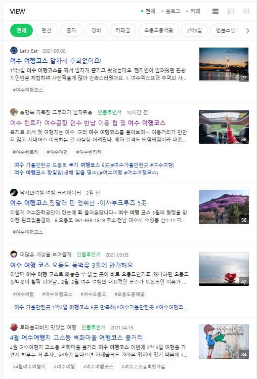 Naver View Search Results - SERP